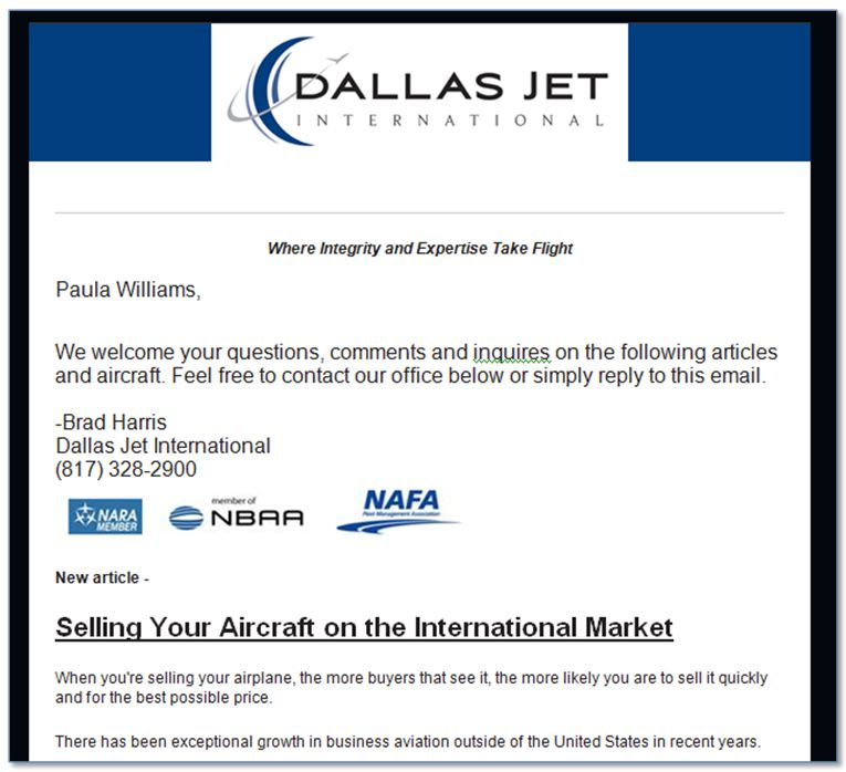 Dallas Jet International Email Newsletter